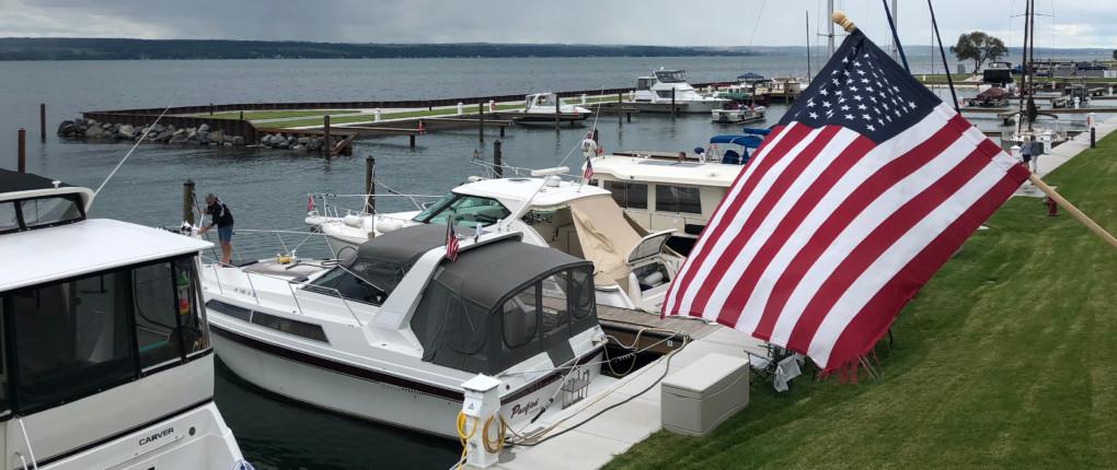 Docks and U.S. Flag at Samsen Marina on Seneca Lake