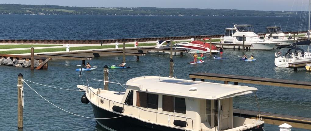 Kayakers in Samsen Marina on Seneca Lake