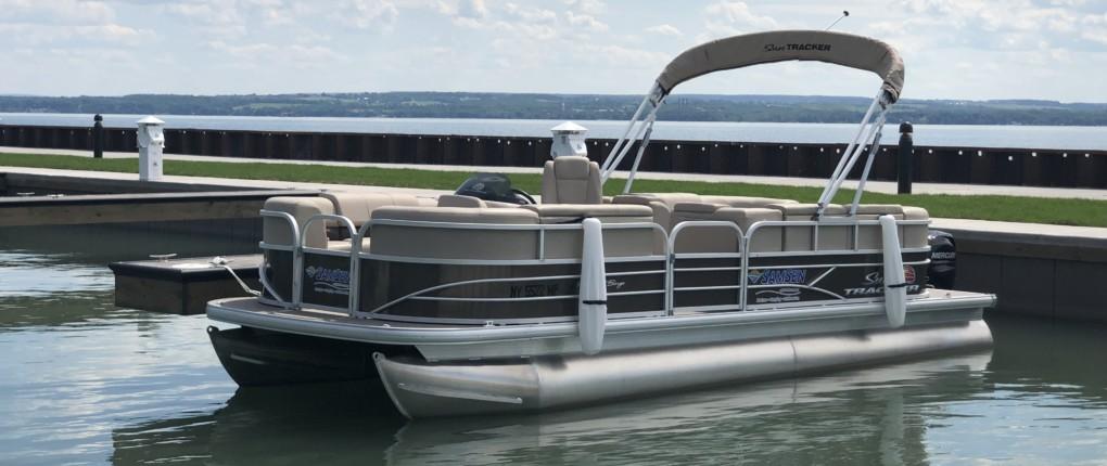 Samsen Pontoon Boat Rental Front