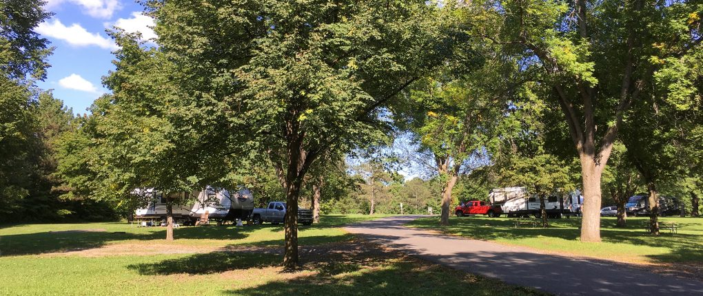 RV campsites at Sampson State Park