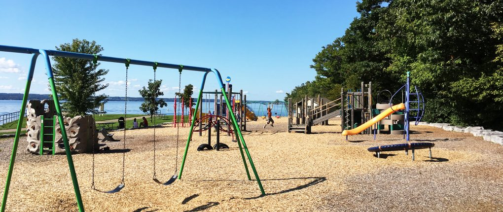 Lakeside playground at Sampson State Park
