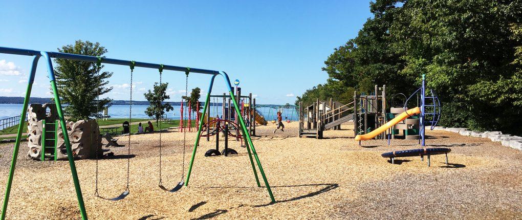 Lakeside playground at Sampson State Park