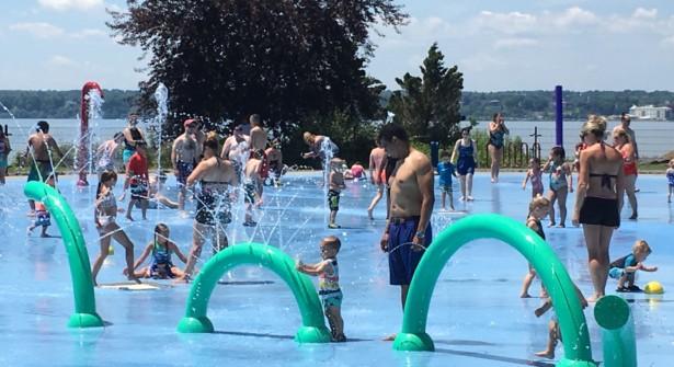 People having fun in the spray park at Seneca Lake State Park